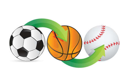 sports balls soccer, football, basket and baseball illustration design Vector