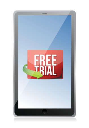 largess: tablet free trial message illustration design over white