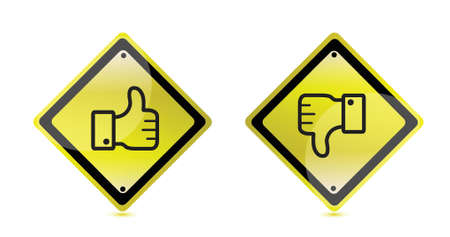 valuation: thumbs up and down warning sign illustration design