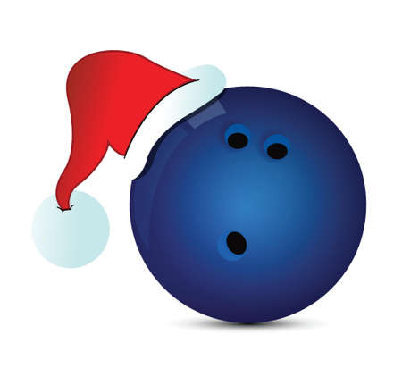 santa cap: Bowling Santa Cap illustration design over a white background