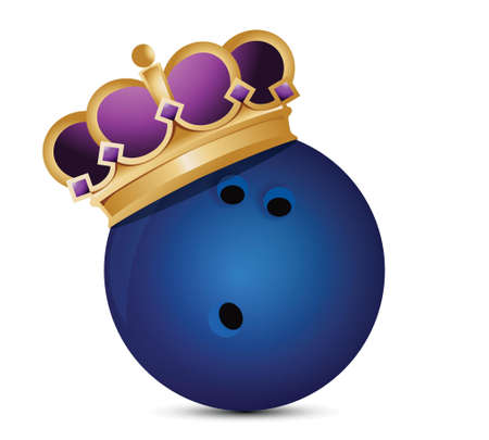 royal person: Bowling ball with a crown illustration design over a white background Illustration