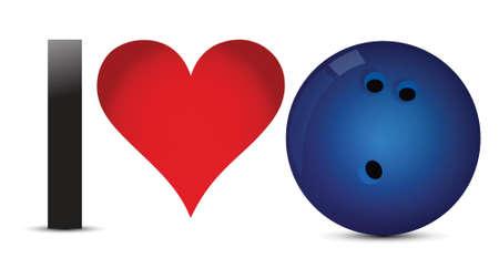 I love Bowling, Heart with Bowling Ball Inside illustration design Фото со стока - 18487088