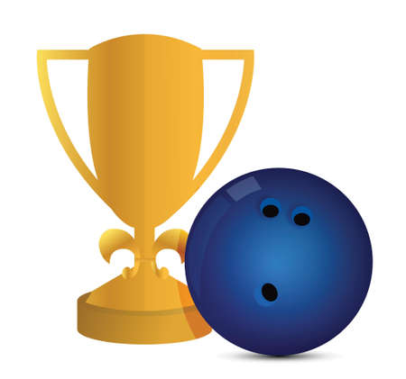 Gold Trophy Cup Bowling on a white background Vector
