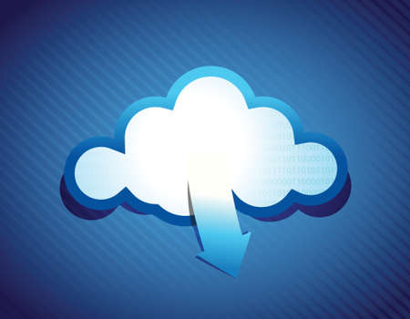 Cloud computing illustration design over a blue background Vector