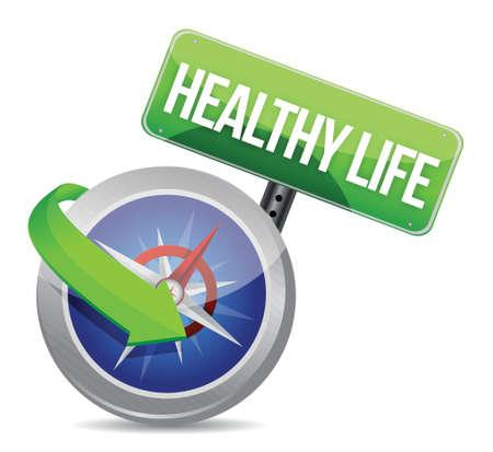 buen vivir: vida saludable indicado por la brújula concepto sobre fondo blanco