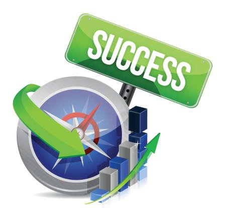 success: business success compass concept illustration design over white