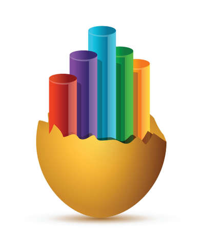 uovo rotto: Colorful Business Growth rotto grafico uovo design illustrazione