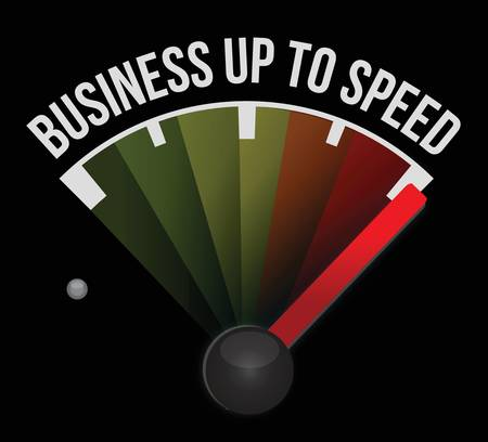 pace: Business up to speed speedometer illustration design over a white background