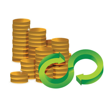 amount: Unlimited amount of money infinity coins concept illustration design over white
