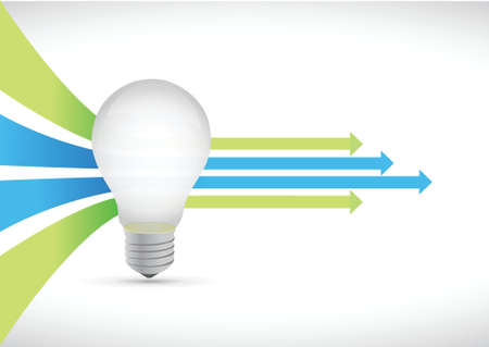 아이디어 전구와 컬러 지도자 화살표 개념 그림 디자인