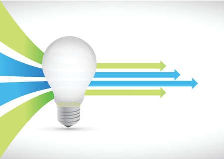 grafico vendite: idea lampadina colorata e leader di frecce illustrazione del concetto di design Vettoriali