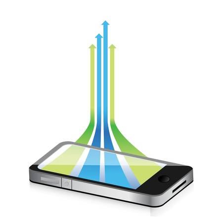 smartphone icon: leader arrows coming out from a smartphone illustration design Illustration
