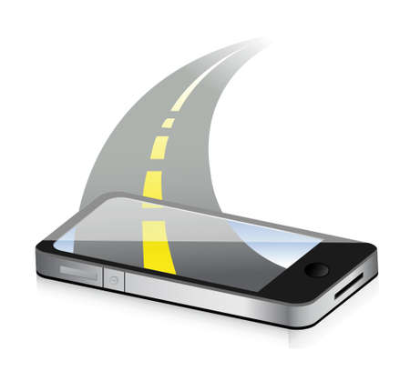 technology road concept. Smartphone illustration design over white Stock Vector - 18487087