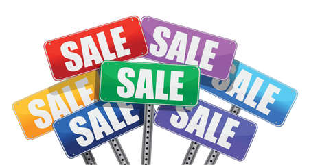 Sale concept. color signs illustration design over white Stock Vector - 18486922