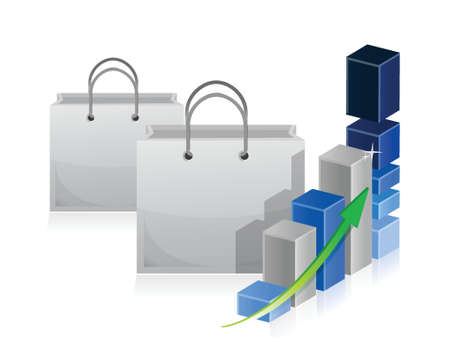 refinance: shopping bag Business graph illustration design over a white background Illustration