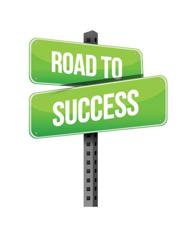 road to success sign illustration design over a white background Stock Vector - 18487040