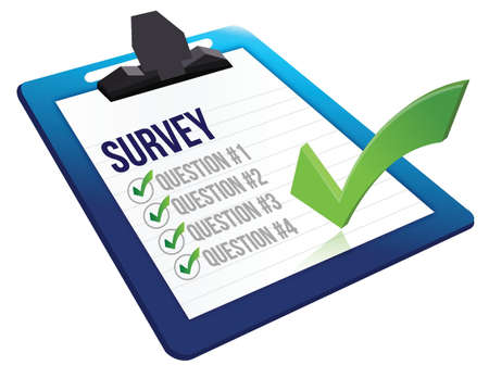 tabulation: Survey and a list of questions illustration design over white Illustration