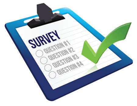 Survey and a list of questions illustration design over white Stock Vector - 18486946