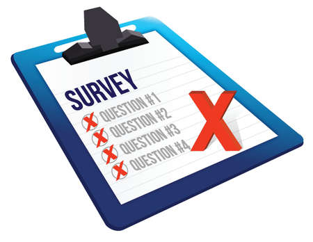 Survey and a list of questions illustration design over white Stock Vector - 18486945