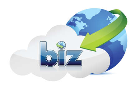 Cloud computing business illustration design over a white background