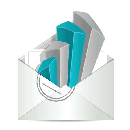 Envelope and business graph illustration design over white Vector