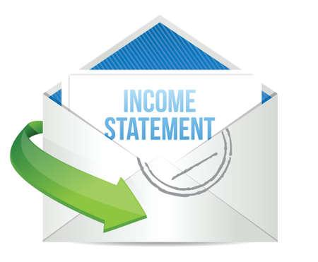 e  mail: income statement e mail illustration design over white