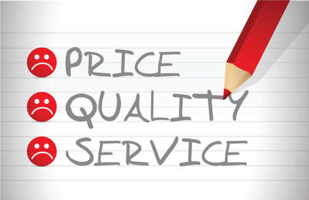 evaluate price, quality and service over a notepad 矢量图像