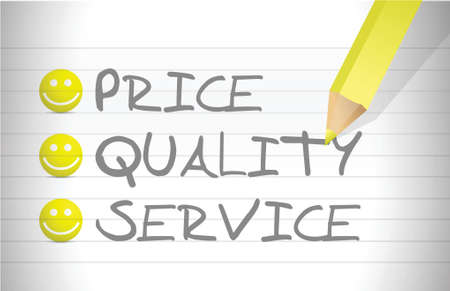 evaluate price, quality and service over a notepad Çizim