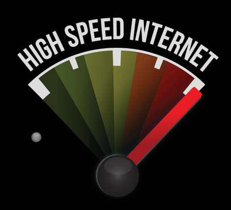 СПИД: высокоскоростной доступ в Интернет Спидометр забил высокая скорость иллюстрации дизайн на белом
