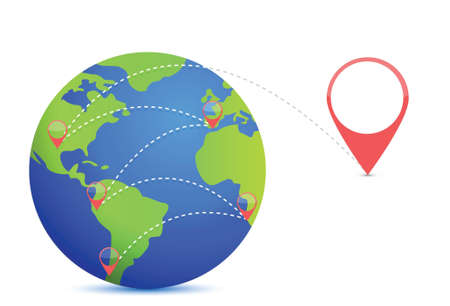 Earth and location points illustration design over white