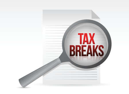 deduct: looking for tax breaks. Under a magnifier. Illustration design over white Illustration