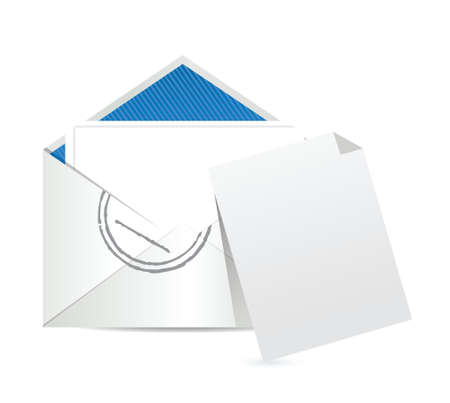 e  mail: empty piece of paper and e mail illustration design over white