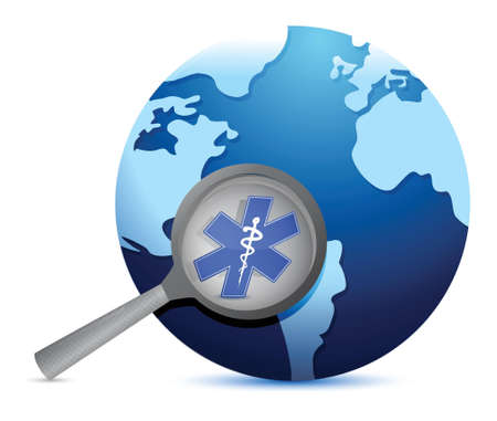 clinical research: globe with medical symbol under a magnify glass illustration design Illustration