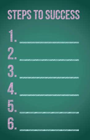 steps to success illustration design over a blackboard