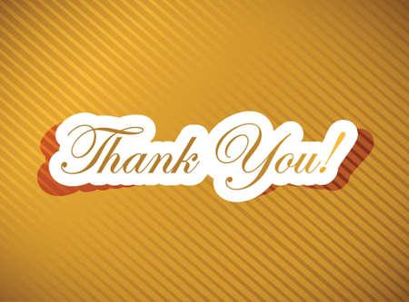 thank you card over a golden illustration design Vector