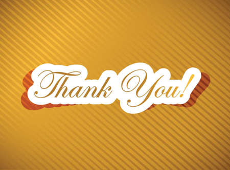 thank you note: thank you card over a golden illustration design Illustration