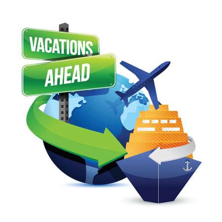vakanties vooruit illustratie ontwerp op een witte achtergrond