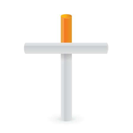 smoking kills: Cigarettes cross. Smoking kills metaphor illustration design Illustration