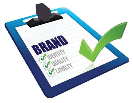 Identity, Quality and Loyalty checklist clipboard illustration design