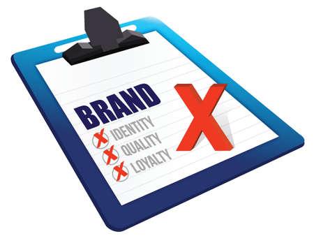 credibility: Identity, Quality and Loyalty checklist clipboard illustration design