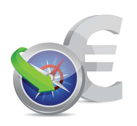 euro Compass currency exchange direction illustration design Vector