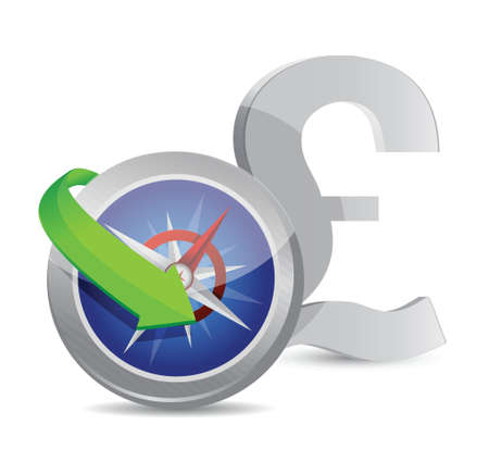 british currency: british pound Compass currency exchange direction illustration design Illustration