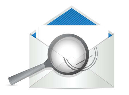 envelope with magnify glass in front illustration design Stock Vector - 18487144