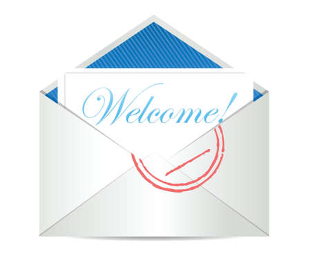 private information: Welcome concept with open blank airmail envelope illustration