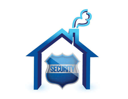 guard house: Home insurance protection, a shield and a house