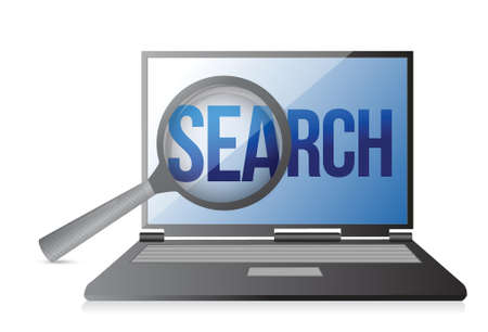 magnifier and search on a laptop screen. Illustration design Stock Vector - 18487141