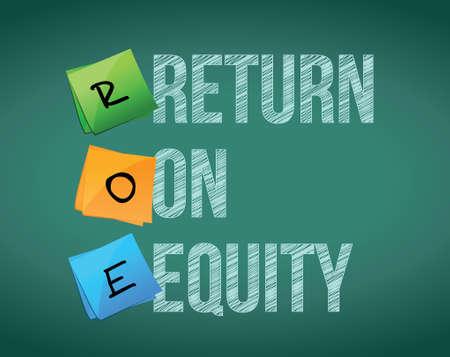 equidad: rendimiento financiero de diseño ilustración equidad escrito en una pizarra