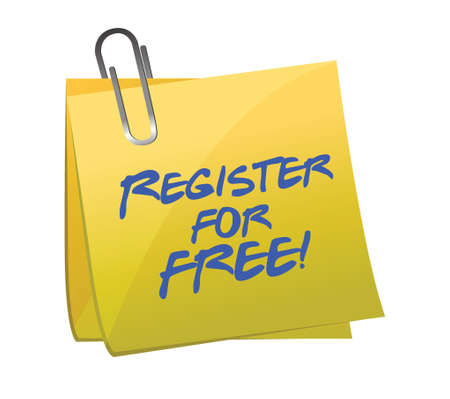 Register for FREE sign up concept on a post-it illustration design