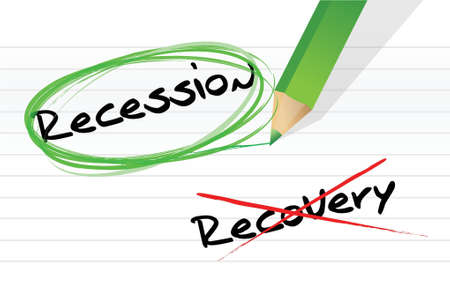 recession versus recovery selection illustration design over white Vector