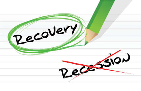 economic recovery: recession versus recovery selection illustration design over white
